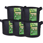 5 Pack Fabric Grow Bags Aeration Plant Pots Root Pouch 1,2,3,5,7,10,20,30 Gallon