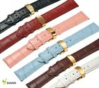 12~22mm Real Leather Cowhide Deployment Gold Stainless Steel Clasp Watch Strap