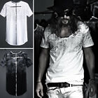 ByTheR Men's Fashion Cotton Black Cross Custom Paint Loose Round Neck T-shirt