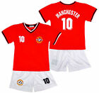 Boy's MANCHESTER Logo Sport T-Shirt Top & Shorts Outfit Kit Set 2-14 Years NEW