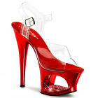 PLEASER Sexy Stripper Shoes Red Chrome Rhinestone Platfor...
