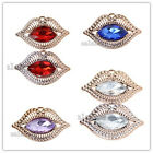 10/50pcs Plated UV Gold Acrylic Colorful Rhinestone Lip Charm Pendants Fit DIY-C