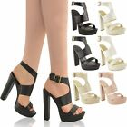 NEW WOMENS LADIES HIGH HEEL PLATFORM SANDALS ANKLE STRAPPY CHUNKY SHOES SIZE