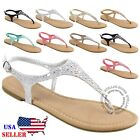 NEW Womens T-Strap Thong Gladiator Strappy Braided Flat Flip Flop Sandals