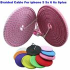 Fabric Braided flat noodle Data Sync Power Charger Cable FOR iPhone 7 6 plus 5s