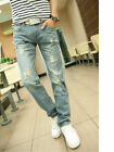 Vintage Stonewashed Distressed Ripped Frayed Mens Light Blue Slim Fit Jeans UK