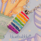 FUNKY RAINBOW CAKE NECKLACE CUTE SWEET KITSCH KAWAII FUN NOVELTY RETRO JUNK FOOD