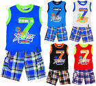 Boy's Power 7 Vest Top & Check Combat Shorts Outfit Set 2 to 14 Years NEW