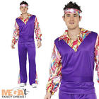 Groovy Hippy Mens Fancy Dress 1960s-70s Adult Costume Hippie Outfit M,L,XL - NEW