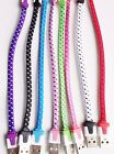 """SHORT 8"""" Fabric Braided flat noodle Data Charger Cable FOR iPhone 7 6s plus 5s c"""