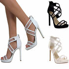 WOMENS OPEN TOE HIGH HEEL PLATFORM ANKLE CROSS STRAPPY PARTY SANDALS SIZE 5- 10
