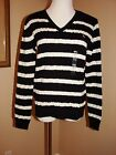 LAUREN by RALPH LAUREN BLACK/ECRU STRIPED V NECK LS SWEATER SIZE:L OR XL NWT $79