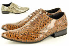 New Mens Smart Casual Leopard Print Leather Lined Formal Lace up Shoes Size 5-11