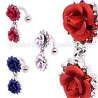 Double Rose Reverse wear belly bar Banana Barbell 14 Gauge (1.6mm x 10mm)
