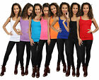 NEW WOMENS LADIES SLEEVELESS STRETCH RIBBED VEST LONG TOP CAMI T-SHIRT S/M - 3XL