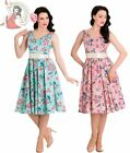 HELL BUNNY 50's LACEY swallow rose DRESS summer PINK TURQUOISE
