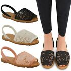 LADIES WOMENS MESH MENORCAN LACE SANDALS SLING BACK FLAT SUMMER OPEN TOE SIZE