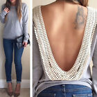 Fashion Womens Backless Sexy Long Sleeve Shirt Casual Blouse Tops Shirt Clothing