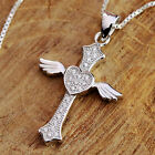 925 Sterling Silver Angel Wing Heart Cross CZ Stones Pendant Necklace w Gift Box
