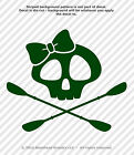 Skull With Bow & Oars Paddles Kayak Canoe 3.5 in. Vinyl Decals Stickers Set of 2