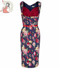 LINDY BOP 50's VANESSA FLORAL WIGGLE PENCIL DRESS NAVY BLUE