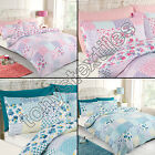 PATCHWORK REVERSIBLE FLORAL SHABBY CHIC BLUE PINK QUILT DUVET COVER BEDDING SET