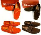 brown suede driving shoes - Men's GIOVANNI orange / brown faux suede shoes driving moccasins style M01-3