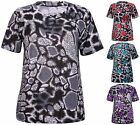 Womens New Plus Size Printed Ladies Short Sleeve Stretch Tunic T-Shirt Dress Top