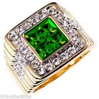 4x4 mm Cut Green Emerald May Birthstone Two Tone Men's Ring Jewelry Size 8-14