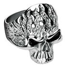 316L Surgical Stainless Steel Skull with Flames Ring