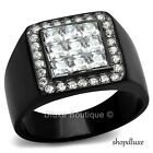 MEN'S PRINCESS CUT SIMULATED DIAMOND BLACK STAINLESS STEEL RING SIZE 8-13