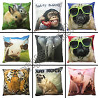 "ANIMAL PUG MONKEY TIGER COW ELEPHANT BUNNY RABBIT PIG 17"" X 17"" CUSHION COVER"