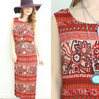 VINTAGE DRESS 90S URBAN GRUNGE ETHNIC FLORAL RED MIDI FESTIVAL OVERSIZED BOHO M