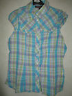 NEW LADIES BEAUTIFUL BLUE CHECK CRINKLE TOP.SIZES 8***10