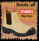 New Stubbies Work Boots Elastic Sided Leather-Suede Barton Wheat