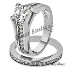1.90 CT HALO ROUND CUT AAA CZ STAINLESS STEEL WOMEN'S WEDDING RING SET