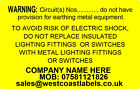 Electrical Safety Warning Labels - EARTHING CIRCUIT - Personalised