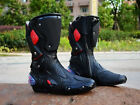 Mens Leather Harness Black Red Motorcycle Biker Racing Boots Size 7 8 9 10 11 12