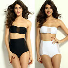 HI Women Summer Sexy Black/White High-waisted Mesh Accent Bikini Set Swimwear