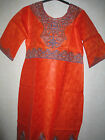 NEW AFRICAN LADIES LOVELY ORANGE KAFTAN DRESS WITH EMBROIDERY DETAILS. SIZE XXXL
