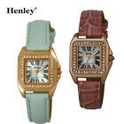 Henley Ladies Watch Polished Rose Gold Square Case Set with Diamante Crystals