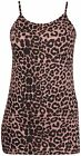 Womens Plus Size Animal Leopard Printed Ladies Strappy Long Vest Tunic Top Dress