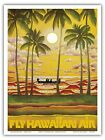 Hawaii Beach Canoe Sunset Palms Vintage Airline Travel Art Poster Print