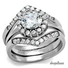 2.25 CT ROUND CUT CZ SILVER STAINLESS STEEL WEDDING RING SET WOMEN'S SIZE 5-10