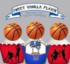 Basketball Sports Birthday party Cupcake Cake Toppers PRECUT Vanilla Cup Cake