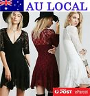 Floral Lace Sheer Tunic Prom A-line Womens Cocktail Party Dress AU Local Postage