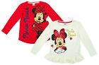 Girl's Disney Minnie Mouse Pack of 2 Long Sleeve Cotton Tops 1 to 7 Years NEW