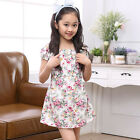 Cute 3-11T Summer Kid Girl Short Sleeve Dress Party Floral Bow Cotton Dresses