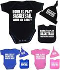 BabyPrem Baby Clothes BASKETBALL Daddy Creeper One-Piece Hat Bib Shower Gift Set