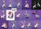 YOU PICK CHARM Silver Plated Unicorn Clip  On Charm Earrings Necklace KeyChain